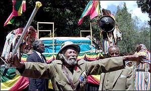 Ветеран войны на похоронах Селассие